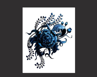 Stylized Blue Flower Print
