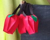 Apple Bag - felt, purse, tote, - Trick or Treat, Halloween, teacher gift