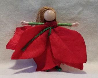 Waldorf Poinsettia Flower Fairy,  elf, Christmas fairy, christmas ornament, worry doll