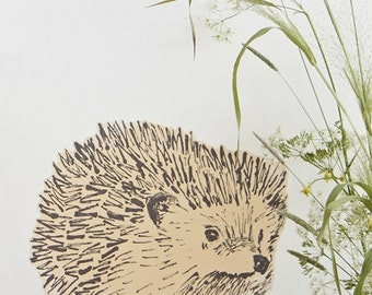Hedgehog Fabric Sticker Yellow