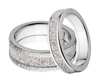 Meteorite Ring Set, His & Her's Ring Set: 8F-TB-Meteorite, 5F-Meteorite