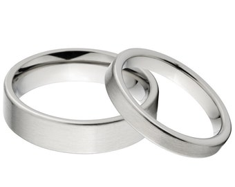 His and Her Matching Titanium Ring Set, Aerospace Grade Titanium Rings: 6F-B - 3F-B