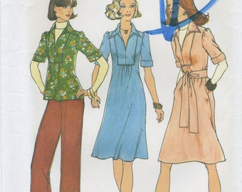 Top Stitch Inset Dress or Blouse, Wide Leg Pants Sewing Pattern Size 12 Simplicity 7049 UNCUT, Collar V Neck Back Zipper Short Sleeves, 1975