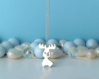 Moose Necklace Reindeer Necklace Pendant sterling silver  Woodland Jewelry  Animal Jewelry Deer Buck Fawn Cute Kids Jewelry winter charm