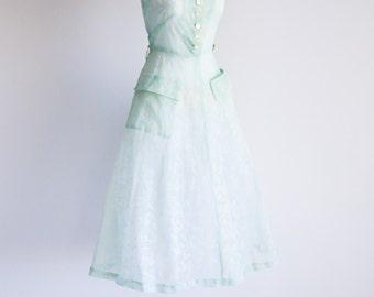Flocked Aqua Sheer Dress  - Sz S