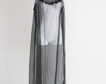 Dore Super Sheer Black Negligee -Sz L