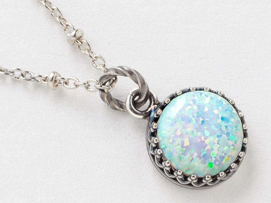 Silver Opal Necklace White Opal Pendant Australian Opal