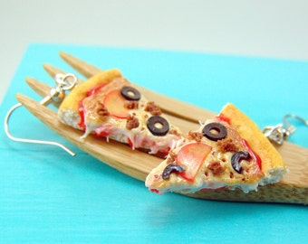 Pizza Earrings // MADE TO ORDER Food Jewelry // Sausage, Tomato and Olive Pizza Earrings // Food Earrings