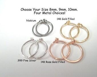 Sparkly Tiny Hoop Earrings, Huggie Hoops, 1 PAIR, Cartilage Hoops, Rose Gold Hoops, Gold Hoops, Small Silver Hoops, Niobium Hoops, 8mm-12mm