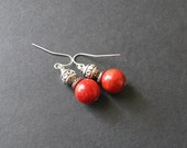 Red Coral Earrings Red Dangle Earrings Red Drop Earrings Semi Precious Stone Earrings Red Gemstone Earrings Bold Red Earrings Coral Jewelry