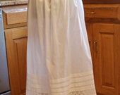 Vintage White Cotton Long Pintucked Apron
