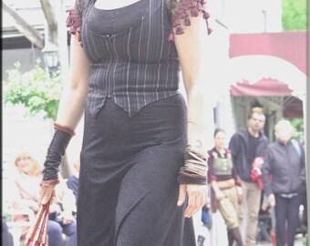 Dress - Steampunk - Maxi Dress - Hood - Gypsy Mermaid - Bohemian - Victorian Goth - Burning Man - Sexy - Size Medium