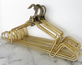 LOUIS VUITTON Gold Hangers SET of 12 Folding Collapsible Metal Strap Groove Authentic
