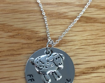 """FFA - Livestock Charm & """"FFA GIRL"""" Handstamped Circle Necklace - Sheep, Rooster, Horse"""