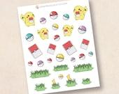 Pokemon Stickers, autocollants planificateur mat ou brillant, autocollants de planificateur de vie, erin condren filofax, mambi planificateur heureux