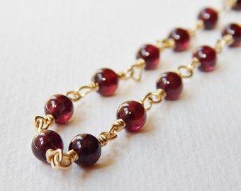Garnet Necklace - Beaded Gold Filled Necklace Rosary Chain Beadwork Necklace Rosary Necklace