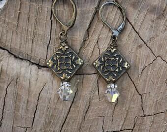 Gillian - Bronze & Crystal Earrings