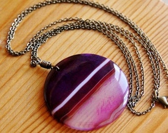 SALE - Beautiful purple Stripe Agate pendant necklace chunky big bold earthy natural stone gemstone jewelry extra very long large bohemian