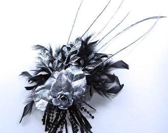 Silver Queen Feather Fascinator