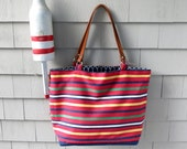 SALE Large tote, leather handles, striped tote, nautical tote, beach tote, boat tote, in fabric from Madeira, Portugal 95.00