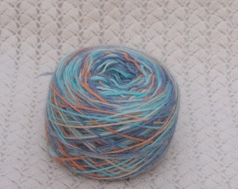 alpaca rowing rainbow yarn hand-dyed, 112 gr,  color rust, mint, blue, self striped yarn by  lafiabarussa