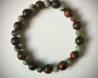 Tiger Ebony Jasper Gemstone Mala Bracelet Yoga Stretch Bracelets, Layering Bracelet Zen Jewelry Mens Mala Bead Bracelet Meditative Jewelry