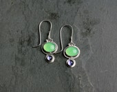 Rome Drop Earrings in Moonrise (handmade recycled silver natural gemstone jade iolite drop earrings)