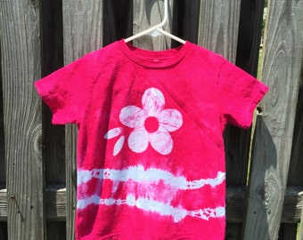 Flower Girls Shirt, Girls Tie Dye Shirt, Girls Flower Shirt, Kids Flower Shirt, Hot Pink Flower Shirt, Kids Batik Flower Shirt (4/5)