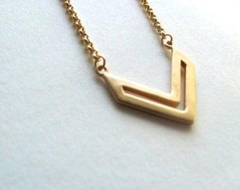 Chevron cutout pendant bib necklace on 14k gold plate chain, geometric necklace