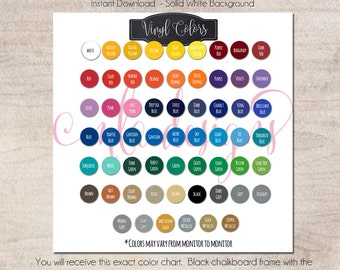 Color Chart Oracal 651 - Vinyl Color Chart - Use in Your Store for Listings - Instant Download Color Chart, Vinyl Color Samples