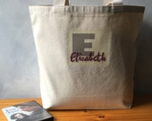 Elizabeth ~ CLEARANCE ~ LAST ONE - Name in Wine Red on a Taupe Initial - Natural Canvas Carryall Bag - Shopping Bag - Cotton Canvas Tote
