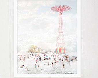 "Large Wall Art \\ Oversized Art \\ Coney Island Photography \\ Beach Photography Brooklyn ""Parachute Jump & Beach"""