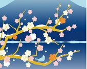 Japanese Tenugui Towel Cotton Fabric, Mt.Fuji, Mountain, Lake, Flower, Bird, Hand Dyed Fabric, Traditional Art Fabric, Home Decor, h259