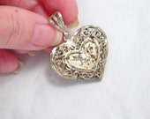 3-D puffed filigree scroll work ornate diamond cut accent heart necklace pendant 925 sterling silver Blingschlingers jewelry adoption center