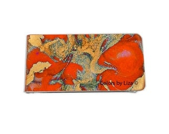 Money Clip Hand Painted Enamel Orange and Gold Quartz Inspired Custom Colors and Personalized Options