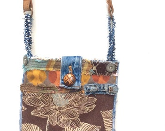 Handmade Upcycled Crossbody Bag in Warm Colors for Fall