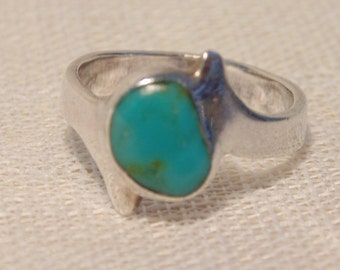 Vintage Turquoise Sterling Ring Turquoise Jewelry Blue Turquoise Ring Sterling Ring Sterling Turquoise Ring Sterling Turquoise Jewelry