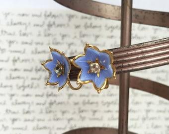 Light Blue Flower Earrings, Periwinkle Earrings, Blue Rhinestone Flower Earrings, Light Blue Earrings, Rhinestone Earrings, Screw Backs