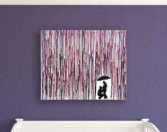 Baby Shower Gift, Pregnant Mom Gifts, Dad Kissing Belly Silhouette Congratulations Pregnancy Gift Melted Crayon Art Pregnant Woman Art 16x20