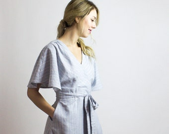 Joan Stripe wrap dress / Organic Cotton & Hemp blue stripe tea length dress / Sustainable fashion