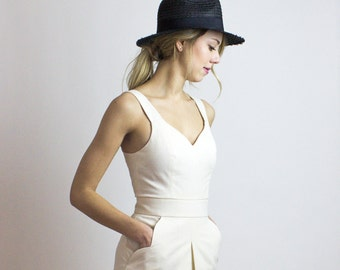 Hamptons Dress / Organic LINEN & cotton Sophisticated cream dress - Minimalist Ethical fashion - New collection