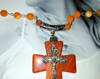 Reserved for Suzanne    Orange Agate Cross and Agate Necklace