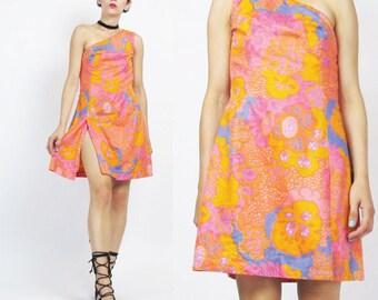 1960s Psychedelic Mini Dress One Shoulder Dress Hippie Neon Floral Print Dress Vintage 60s Go Go Ultra Mini Dress Pink Purple Orange (XS)