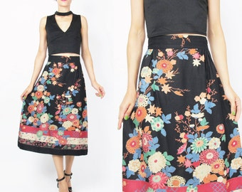 1970s Floral Midi Skirt Floral Print Pencil Skirt Floral Striped Skirt Navy Blue Skirt High Waist Skirt Pretty Knee Length Cotton Skirt (M)