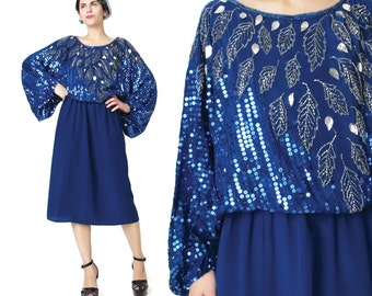 1980s Sequin Dress Navy Blue Silk Dress Silver Leaves Beaded Silk Dress Batwing Sleeves Dress Long Sleeve Evening Party Disco NYE (S) E644
