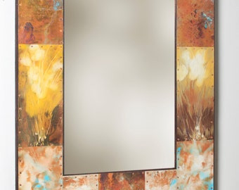 25 x 35 Metal and Copper Mirror With Shelf