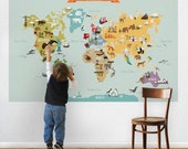 World Map, Kids World Map Poster, Educational Map for Kids, Peel and Stick Fabric Poster Sticker, Wall Sticker Map, The World Map W1078