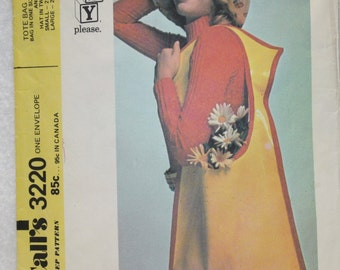 Vintage 70s McCall's Sewing Pattern 3220 Easy  Tote Bag And Hat