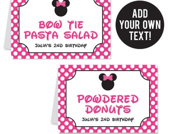 INSTANT DOWNLOAD Minnie Mouse Party Buffet Cards - EDITABLE Printable File