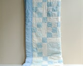 Vintage Handmade Patchwork Soft Cotton Quilt in Blue and White  / Twin Size Quilt